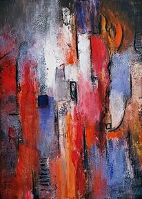 Schicht, Gold, Moderne malerei, Rot