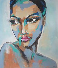 Gesicht, Zeitgenössische malerei, Frau, Abstrakte malerei