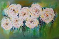 Zeitgenössische malerei, Blumen, Abstrakte malerei, Moderne malerei