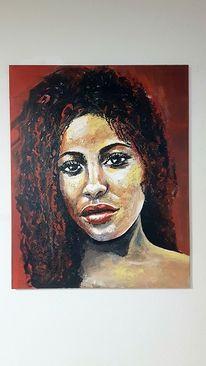 Moderne malerei, Gesicht, Zeitgenössische kunst, Frau