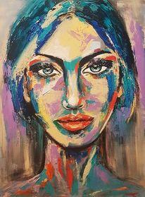 Zeitgenössische malerei, Spachteltechnik, Acrylmalerei, Frau