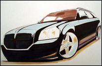 Gestaltung, Malerei, Mischtechnik, Auto