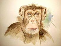 Affe, Tiere, Aquarellmalerei, Aquarell