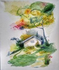 Aquarellmalerei, Haus, Aquarell,