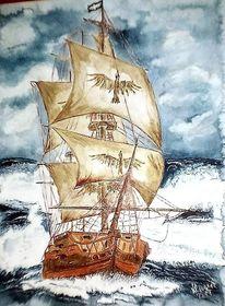 Schiff, Boot, Eden, Aquarell