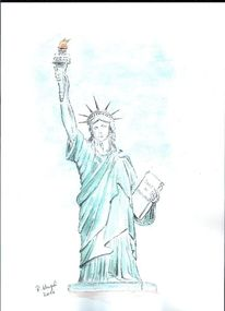 Zeichnung, Aquarellmalerei, Freiheitsstatue, Aquarell