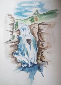 Wasserfall, Aquarellmalerei, Landschaft, Aquarell