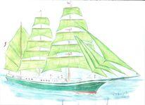 Zeichnung, Aquarellmalerei, Schiff, Aquarell