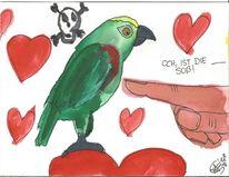 Herz, Gelbstirnamazone, Papagei, Aquarell