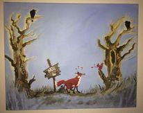 Rotfuchs, Acrylmalerei, Schild, Eichhörnchen