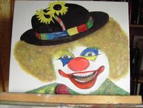 Portrait, Malerei, Mens, Clown