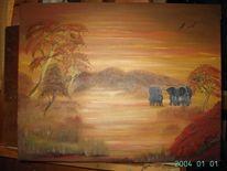 Malerei, Olifanten, Landschap, Natur