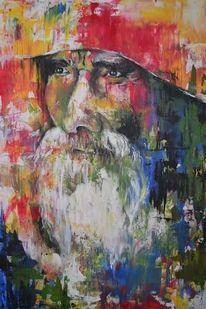 Bärtig, Alter mann, Bunter hintergrund, Malerei