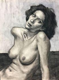 Akt, Kohlezeichnung, Zeichnung, Frau
