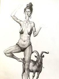 Yoga, Ziegen, Frau, Zeichnung