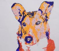 Pop art, Illustrationen, Tiere, Blau