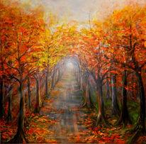 Verwelken, Straße, Herbst, Baum