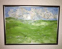 Himmel, Grün, Weide, Abstrakt