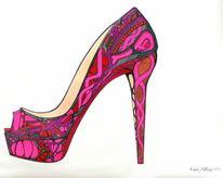 Auftrag, Schuhe, Gebogene formen, Pink violett