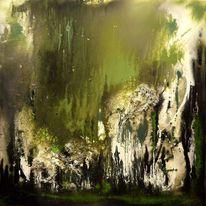 Malerei, Schwarz weiß, Abstrakt, Grün