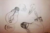 Technik, Lampe glühbirne, Bleistiftzeichnung, Zeichnungen