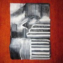 Malerei, Karton, Acrylmalerei, Pappmaché