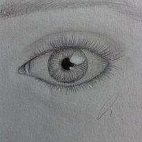 Bleistiftzeichnung, Zeichnung, Menschen, Augen