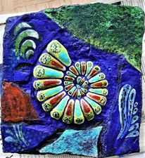 Muschel, Ammonit, Bunt, Blau