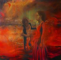 Blau, Ölmalerei, Frau, Figural