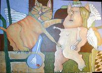 Acrylmalerei, Modern, Aktzeichnung, Frau