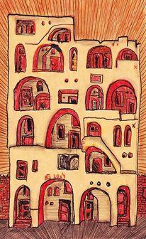 Haus, Tür, Stein, Mauer