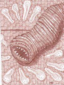 Zeichnung, Wesen, Abstrakt, Braun