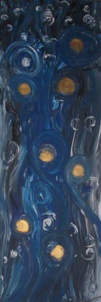 Gold, Kreis, Blau, Malerei