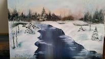 Fluss, Weiß, Schnee, Ölmalerei