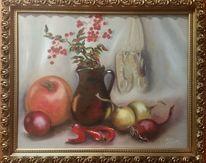 Ölmalerei, Kürbisse, Pfeffer, Weiß
