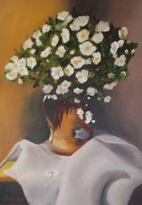 Tuch, Blumen, Vase, Malerei