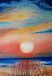 Ölmalerei, Bunt, Wasser, Sonnenuntergang
