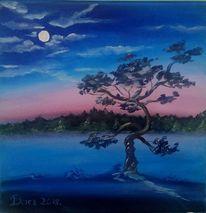 Baum, Mond, Nacht, Malerei