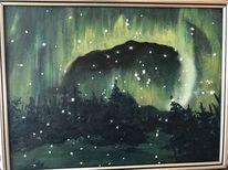 Tanne, Nordlicht, Winter, Malerei
