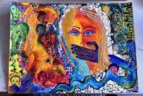 Acrylmalerei, Gesicht, Frau, Collage