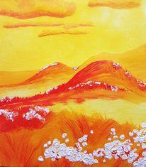 Fluss, Sonne, Blumen, Rot