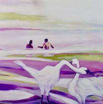 Meer, Acrylmalerei, Licht, Menschen