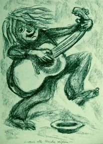 Traum, Karikatur, Gitarre, Kohlezeichnung