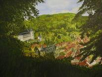 Landschaft, Schloss, Stadt, Aquarell