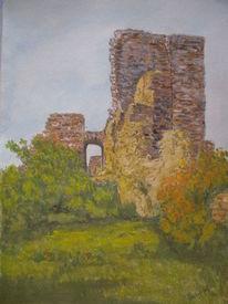 Ruine, Herbst, Landschaft, Aquarell
