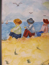 Strand, Kinder, Meer, Malerei