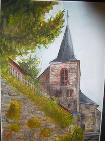 Landschaft, Gebäude, Kirche, Aquarell