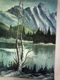 Ölmalerei, Horizont, Berge, See