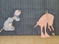 Saurier, Katze, Roboter, Zeichnungen