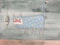 Katze, Spiegel, Stern, Zeichnungen